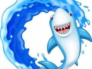 卡通鲨鱼在海洋中
