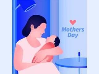 与母亲和婴儿例证的典雅的现代贺卡设计