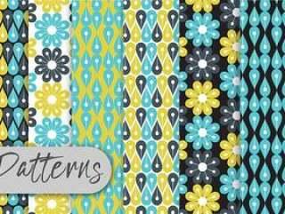 蓝色花卉几何图案集