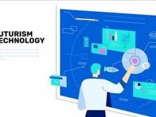 未来技术创新教授在触摸屏幕矢量平面插画