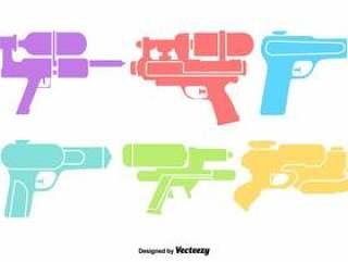 矢量水枪颜色图标集