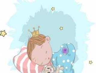 可爱的小宝贝王子与兔卡通绘制