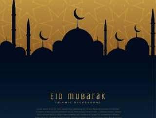 与清真寺剪影的eid穆巴拉克节日问候