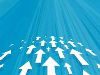 箭头前进在蓝色背景中的业务概念设计