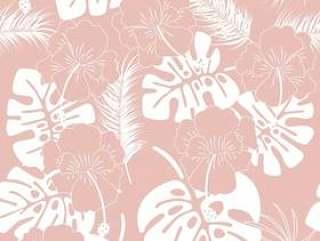 无缝热带模式与白色龟背竹叶和粉红色的背景上的花朵