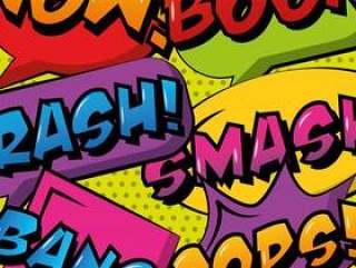 集合漫画波普艺术讲话泡泡和短语