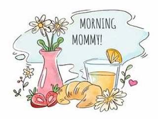 早餐用橙汁,羊角面包,草莓和花瓶