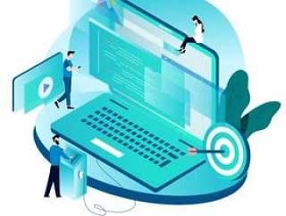 编码,编程,网站和应用程序开发的等距概念