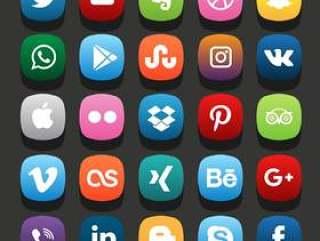 平的社交媒体图标