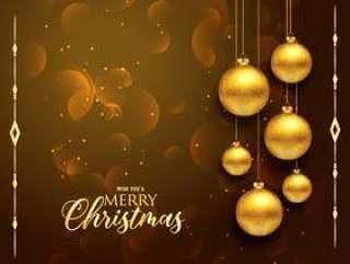 与垂悬的金黄球的优质圣诞节问候设计