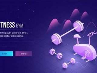 健身健身房概念为基础的着陆页设计网页模板矢量素材下载