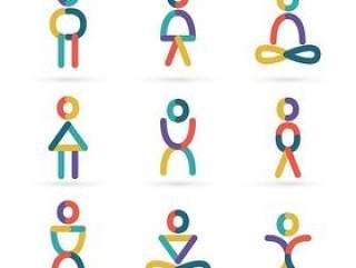 彩色瑜伽人物标志