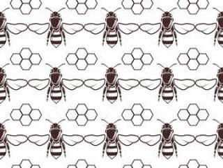 蜜蜂和蜂蜜矢量无缝背景