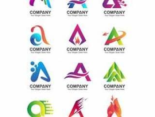 抽象信件徽标模板,公司标识图标集,企业名称集合