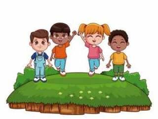 可爱的孩子们在公园卡通玩