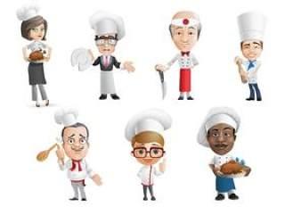 卡通厨师形象—PSD分层素材
