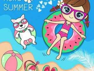 可爱的小狗在夏天在海里玩的女孩
