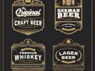 复古框架设计标签横幅贴纸和其他设计。