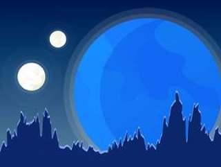令人敬畏的月亮Spacescape矢量