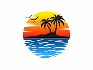 海滩标志矢量