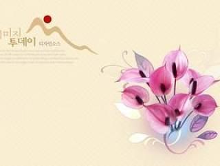 鲜花背景PSD分层素材-3