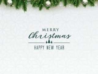 与银色球的典雅的圣诞快乐圣诞节背景