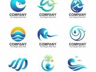 波浪标志模板,水符号集合,波和自然图标设置