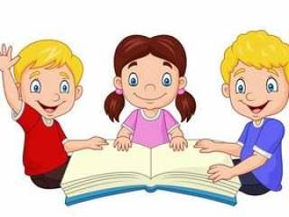 读书的动画片愉快的孩子