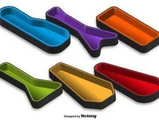 矢量3D吉他案件颜色图标设置