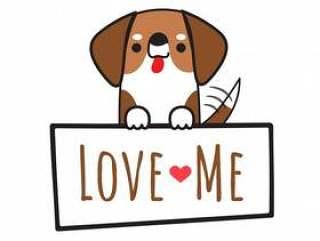 拿着委员会的狗传染媒介狐狸猎犬写爱我。