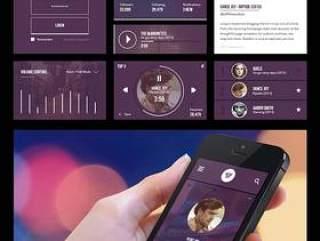 UI设计-手机音乐程序:Music App UI Kit