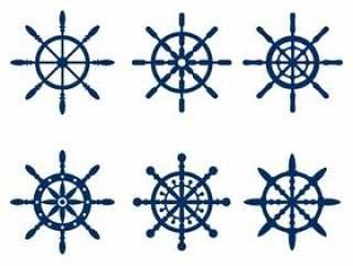 蓝色海洋船轮轮廓矢量
