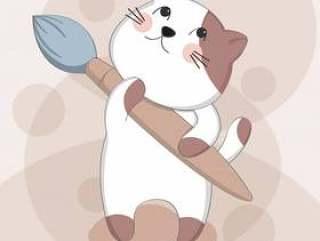 卡通可爱猫咪与绘画素描动物角色