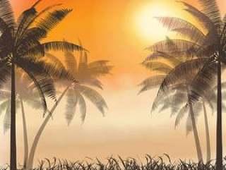 棕榈树上水彩日落的剪影