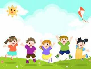 快乐的孩子们玩,跳跃的背景