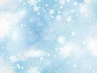 雪花和水彩背景上的星星