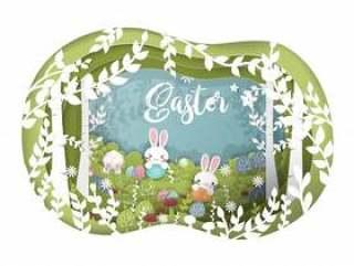复活节卡纸艺术