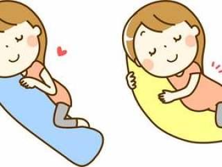 一个女人与一个抱枕睡觉