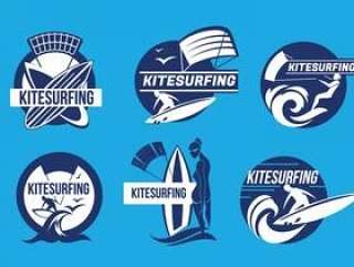 Kiteboarding乐趣在海洋Kitesurfing标签矢量中的一套