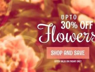 美丽的花销售横幅模板营销和推广