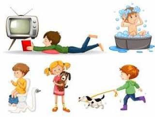 做活动的各种各样的孩子一套