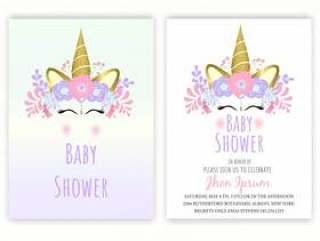 Unicorn floral unicorn decor card baby shower.