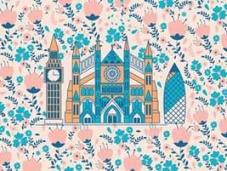 威斯敏斯特修道院与花纹矢量