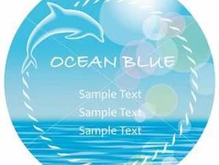 圆形矢量夏天背景/消息帧与海豚。