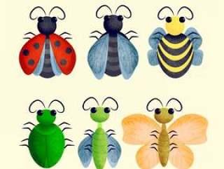 矢量可爱的昆虫插图