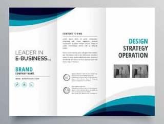 蓝色波浪灯笼业务宣传册设计模板