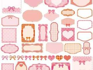 少女框架材料集粉红色的彩带