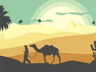沙漠景观平插图矢量
