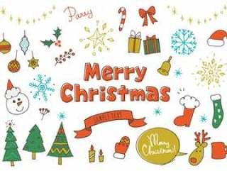 圣诞节可爱的手写的颜色