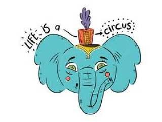 可爱的蓝色大象马戏团帽子矢量